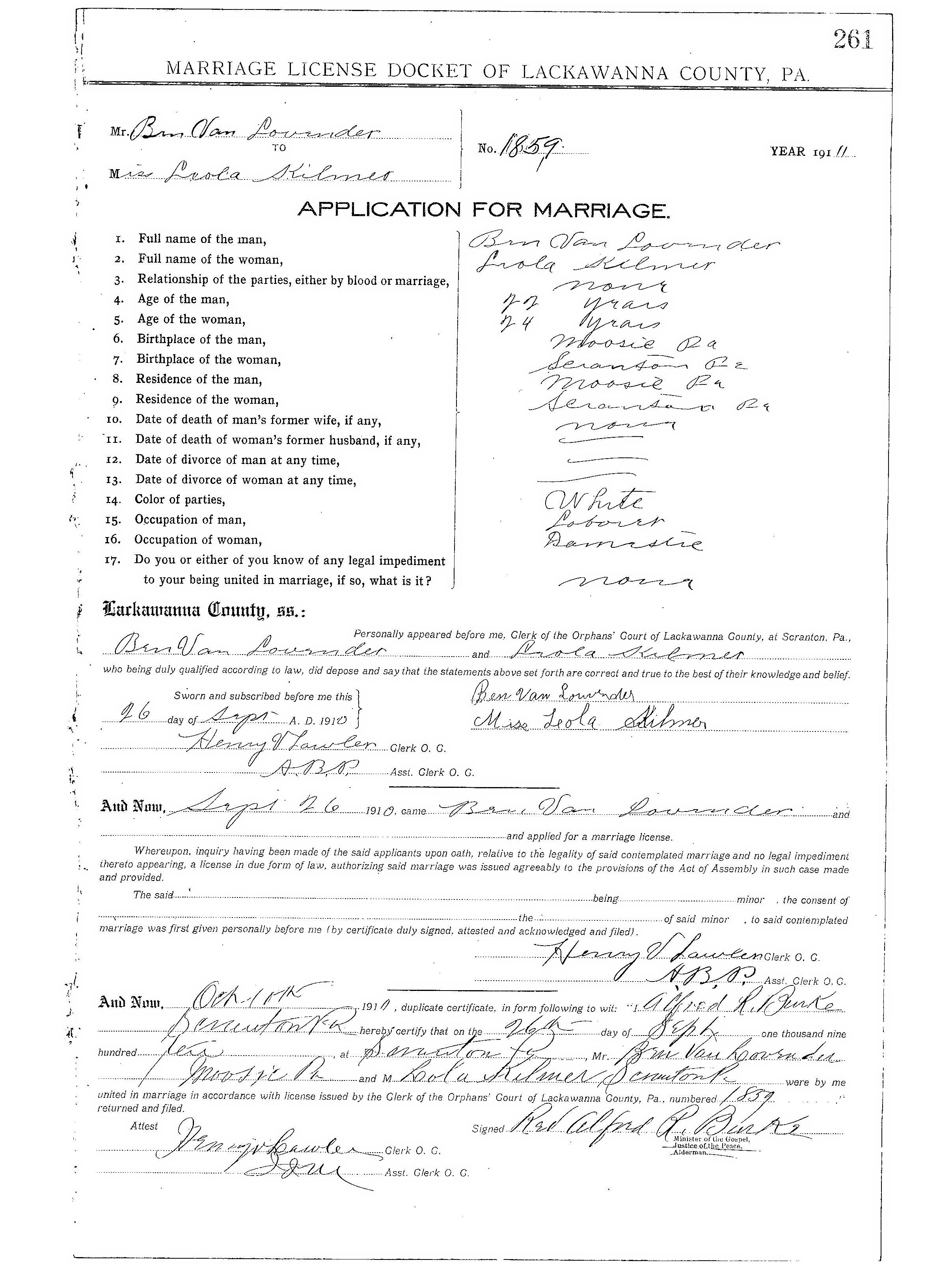 Lackawanna County Marriage License Index Page 1